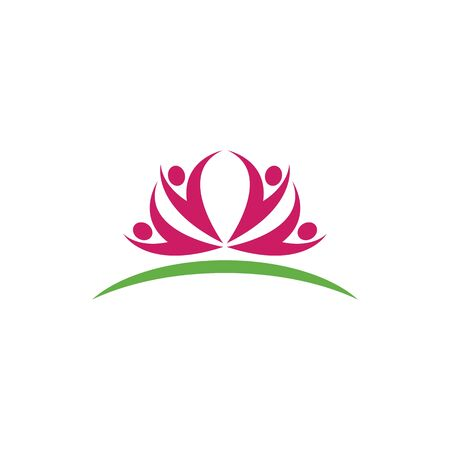 Lotus flowers ilustration human character logo Template Vector 向量圖像