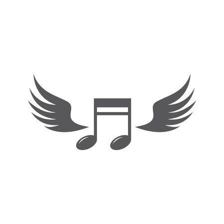 Music note wing logo vector design Illustration