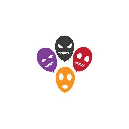 Halloween balloon character icon ilustration vector Illustration