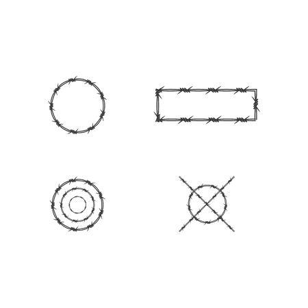 Barbed wire illustration vector flat design