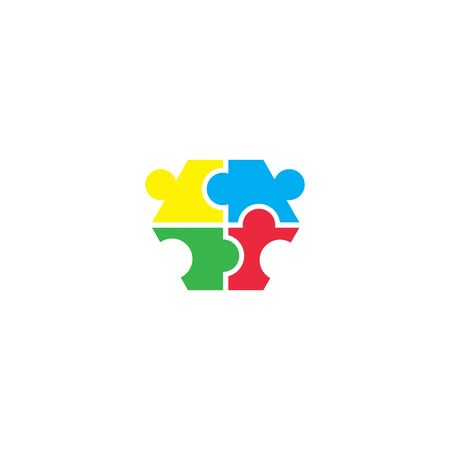 community puzzle logo vector design