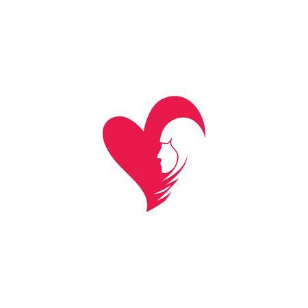 Beauty Women face silhouette character Logo Template Ilustracja