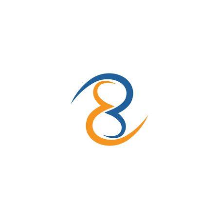 Eight logo vector flat design template Ilustracja