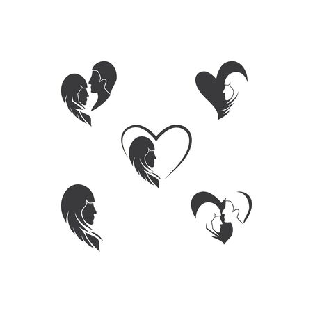 Romance Couple man and  women logo vector