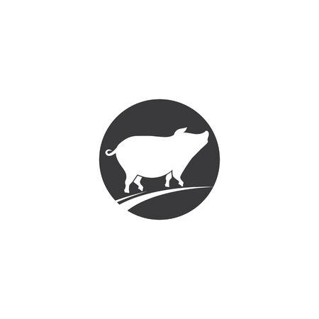 Pig logo illustration vector flat design Vectores