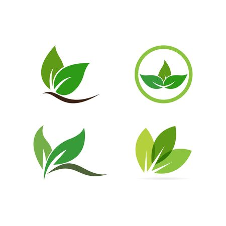 leaf logo illustration nature element vector  일러스트