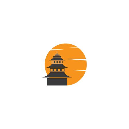 Pagoda building illustration template Vectores