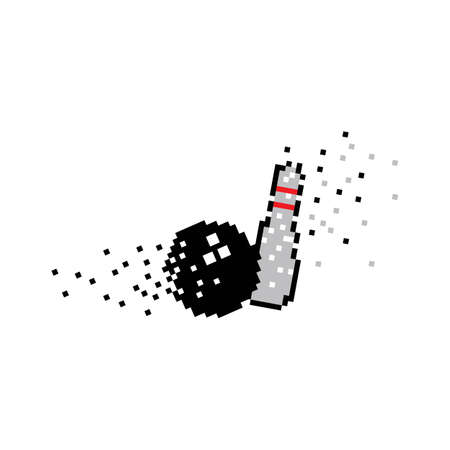 Pixel art Bowling logo and symbol on white background