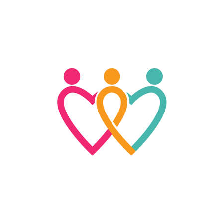 Love Family care Logo Vector illustration design