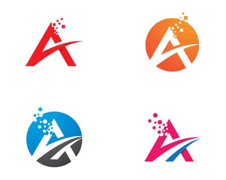 A Letter Pixel art design   Template