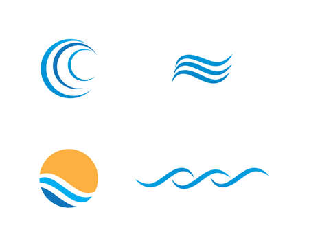 Water Wave symbol and icon Template vector
