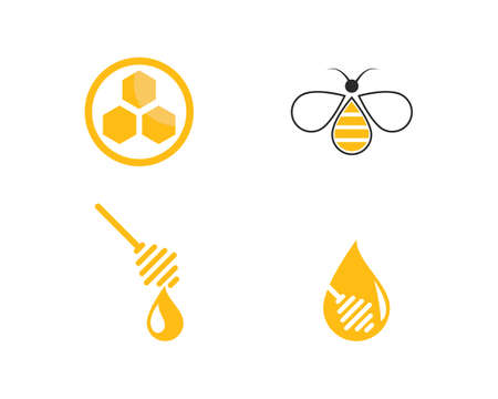 Honey Bee   Template vector icon illustration