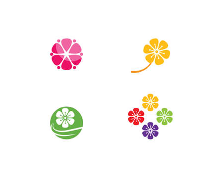 Plumeria flower logo template vector