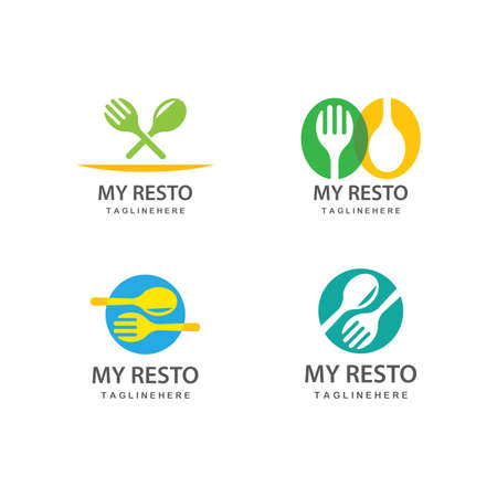 fork and spoon icon vector template Vetores