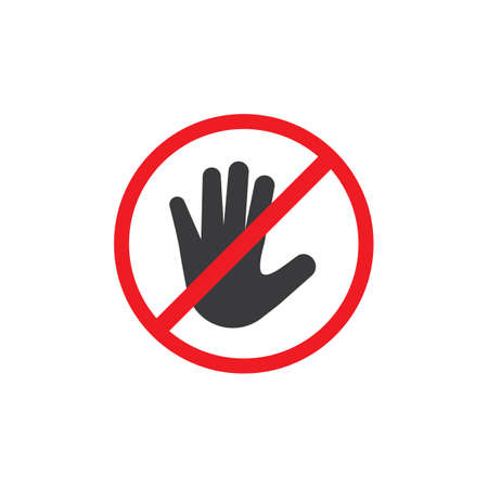 Hand blocking logo Stop Icon vector template