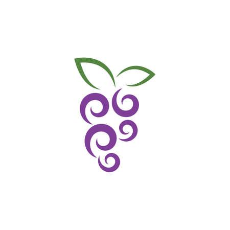 Grape with leaf logo vector template Logo