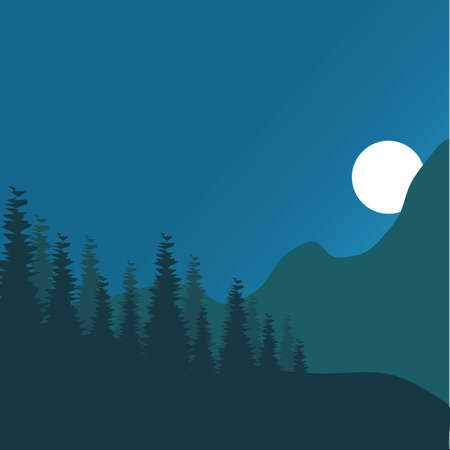 Forest lanscape ilustration vector template