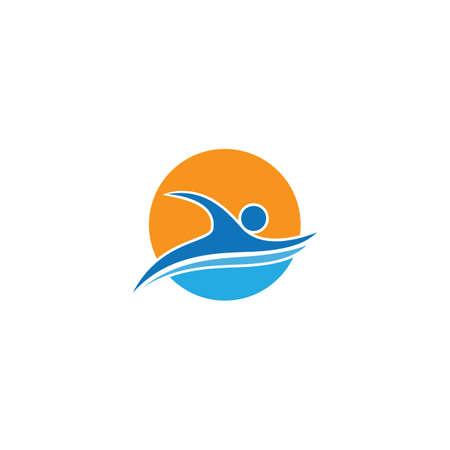 Swimming sport logo ilustration vector