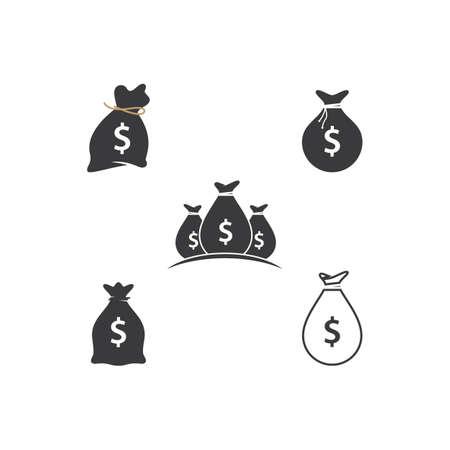 Money bag set icon vector template Ilustración de vector