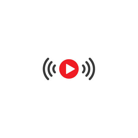 Live streaming play logo icon vector template