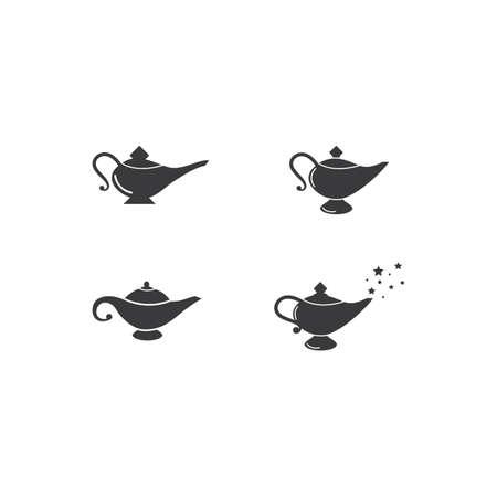 Magic lamp logo set vector illustration design