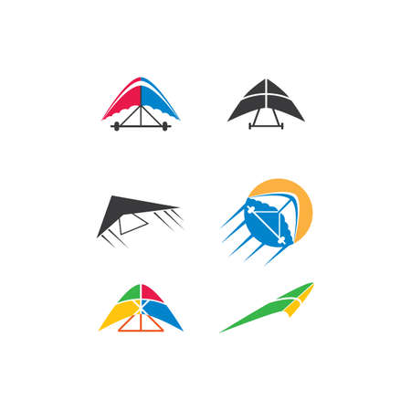 Hang gliding logo icon vector illustration design Vettoriali