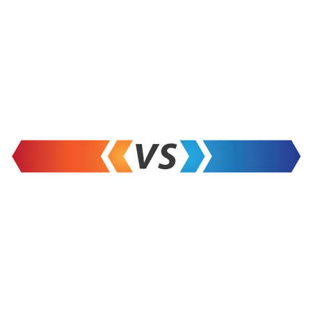 Versus text or vs letter vector design
