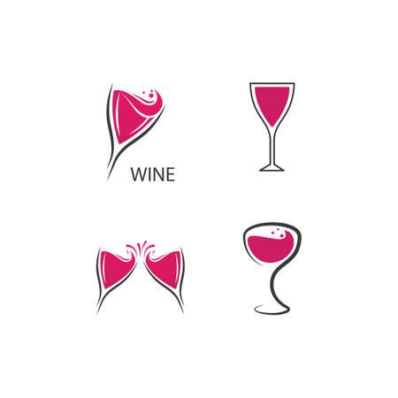 Glass Wine illustration flat design Template Vettoriali