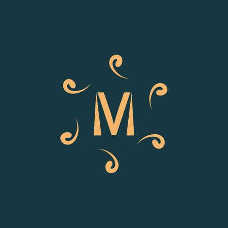M letter Luxurious  , emblem vector design