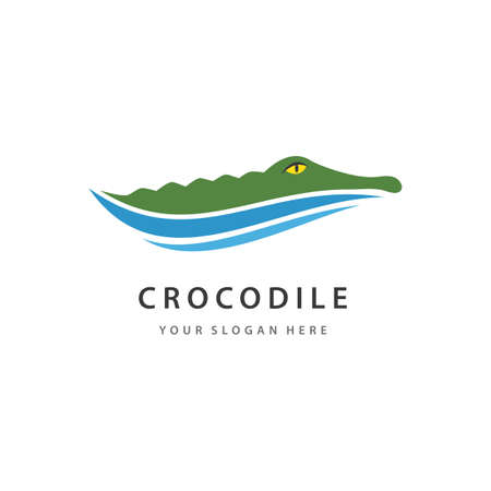 Crocodile head and water wave   vector illustration
