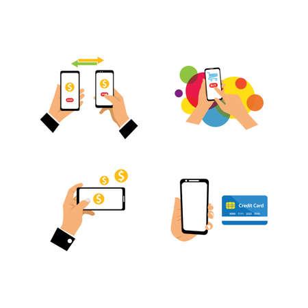 Hand holding smartphone business technology illustration vector design