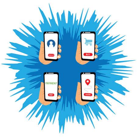 Hand holding smartphone illustration flat design