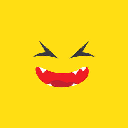 Monster smile mouth on yellow background