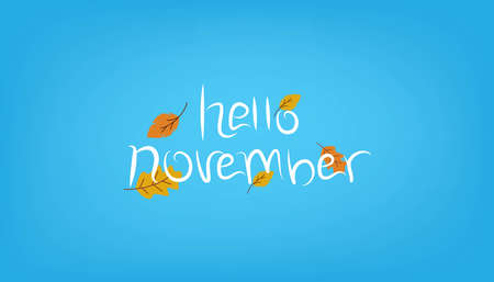 Hello november text background handwriting poster or banner Stok Fotoğraf - 157636449