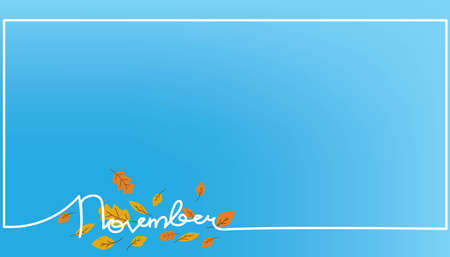 Hello november text background handwriting poster or banner Çizim