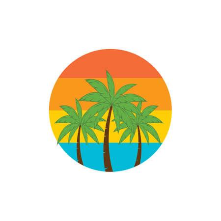 Palm tree summer illustration logo template vector design Stok Fotoğraf - 157782605