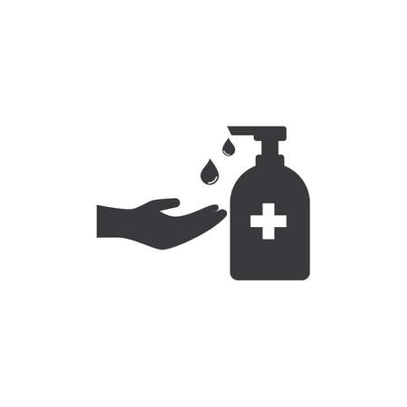 Hand sanitizer icon flat design vector Stok Fotoğraf - 157782611