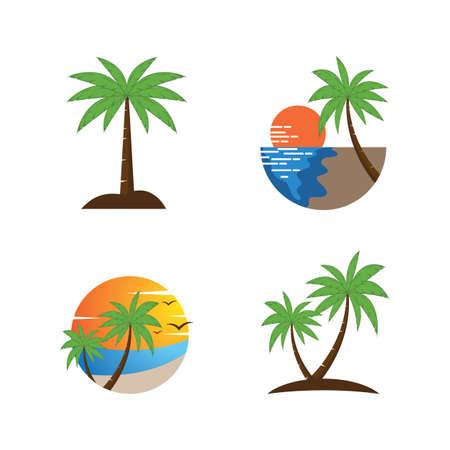 Palm tree summer illustration logo template vector design