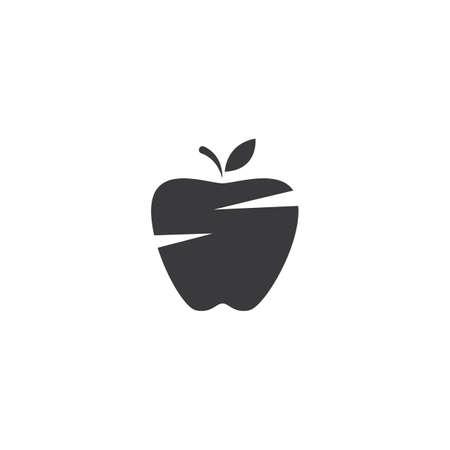 Fresh Apple fruit illustration logo vector design Çizim