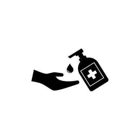 Hand sanitizer icon flat design vector Stok Fotoğraf - 157782652