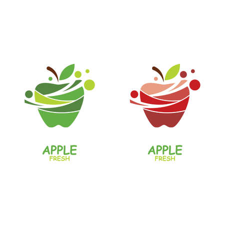 Fresh Apple fruit illustration logo vector design Stok Fotoğraf - 157782659