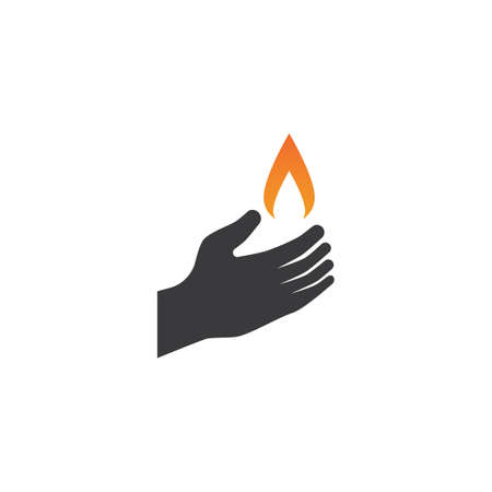 Candle light on hand in flat design vector