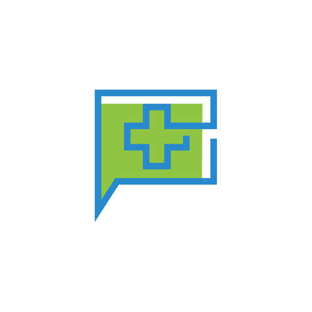 Cross Medical illustration icon template vector design Çizim