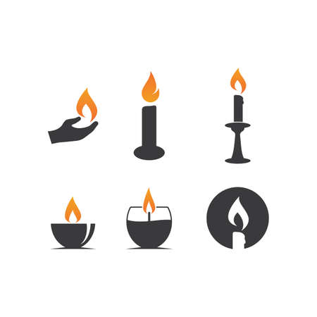 Candle icon in flat design vector Çizim