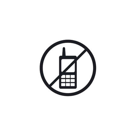 No Telephone icon customer service call vector flat design Иллюстрация