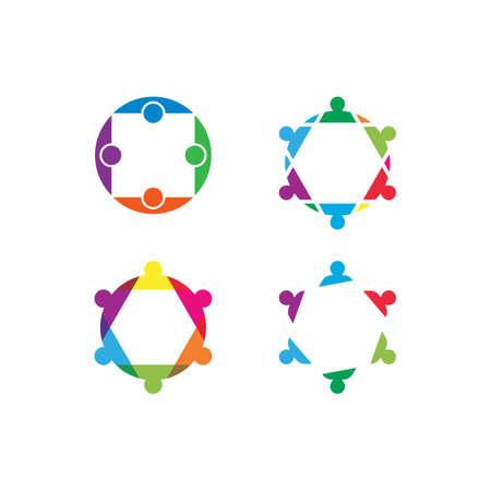 People community care illustration logo template vector