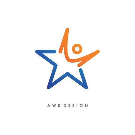 Star success people illustration logo template