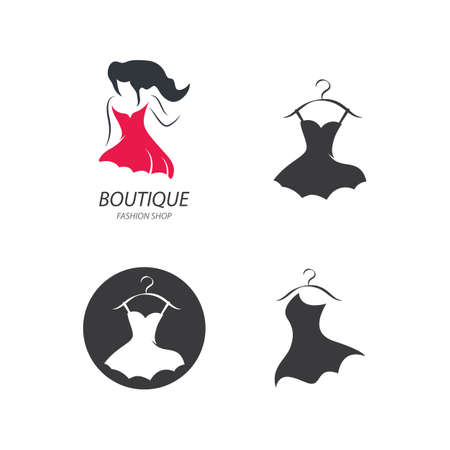Fashion dress illustration logo design