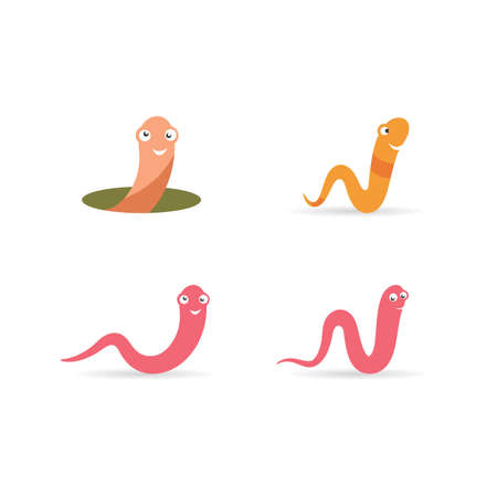 Worm illustration logo vector design Ilustracja