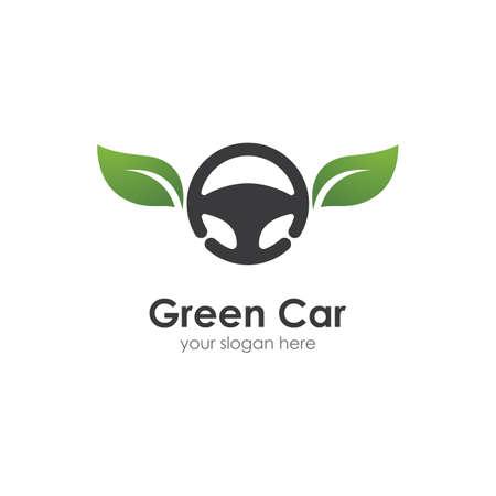 Steering wheel green car logo vector flat design Ilustração